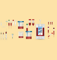 Realistic medical supplies for blood collection vector