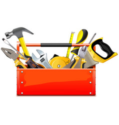 red toolbox with hand tools vector image