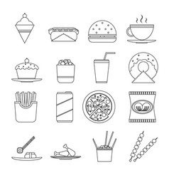 retro flat fast food icons line art symbols set vector image
