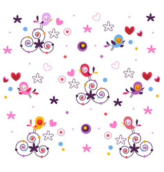 Romantic abstract pattern with birds and hearts vector