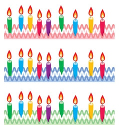 rows birthday candles on cake vector image
