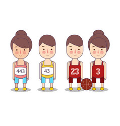Runner sports basketball funny cartoon character vector