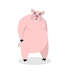 Sad pig Big fat boar melancholy sorrowful hog vector