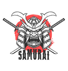 samurai helmet with crossed swords design element vector image