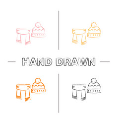 scarf and hat with pompom hand drawn icons set vector image