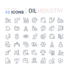 Set line icons oil industry vector