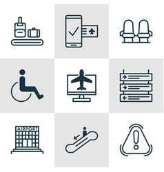 set of 9 airport icons includes internet ticket vector image