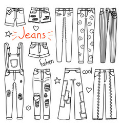 set of hand drawn women clothes jeans vector image