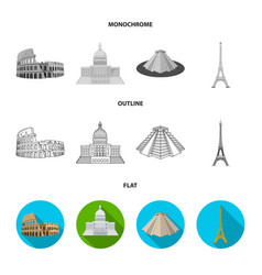 Sights of different countries flatoutline vector