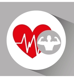 Silhouette man bodybuilder heart rate vector