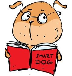 Smart dog reading book - vector