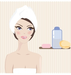 Spa Woman Beautiful Girl After Bath Touching Her vector