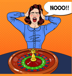 Stressed screaming woman behind roulette table vector