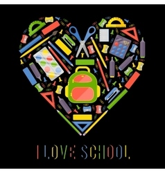 stylezed heart with school stationery items vector image