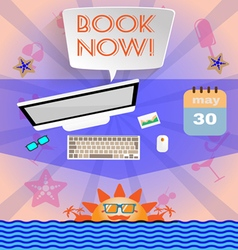 Summer time purple infographic with book now text vector