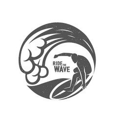 Surfing logo ride wave surf rider vector