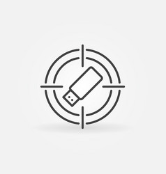 Target with usb flash drive concept outline vector