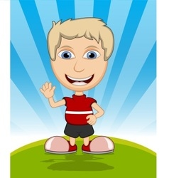 The boy laughing and waving his hand cartoon vector image vector image