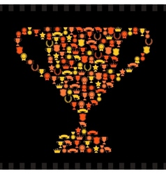 Trophies and awards icons in the form of prize cup vector