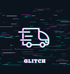 Truck delivery line icon express service sign vector