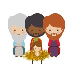 Wise man with offering a baby jesus cartoon vector image