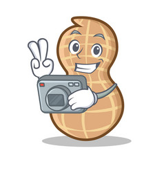 With photography peanut character cartoon style vector