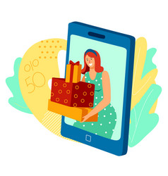 woman holding presents online gift boxes sale in vector image