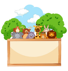Wooden board with cute animals in background vector