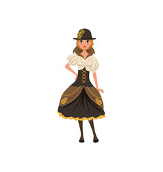 Young steampunk girl woman in blouse corset vector