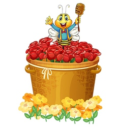 A happy bee above the basket of flowers vector image vector image