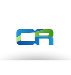 Blue green cr c r alphabet letter logo vector