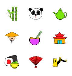 japan icons set cartoon style vector image