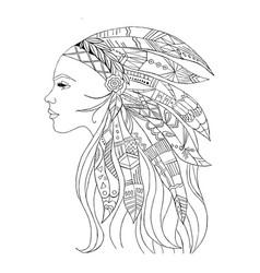 native american indian girl in top headgear vector image