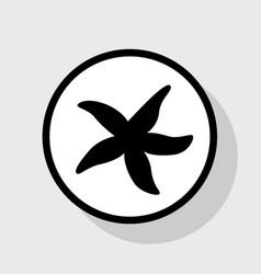 sea star sign flat black icon in white vector image