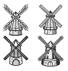 set of the windmills icons on white background vector image