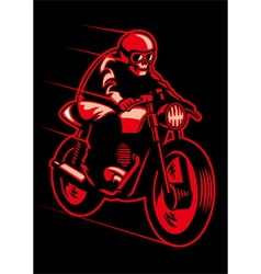 skull ride a vintage motorcycle vector image