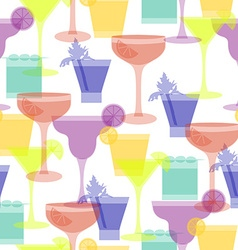 cocktail silhouettes seamless pattern vector image