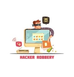 Computer security hacker retro cartoon icon vector