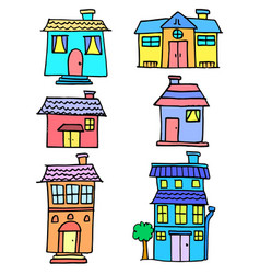 doodle of house colorful set vector image