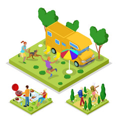 isometric outdoor activity camping and barbeque vector image
