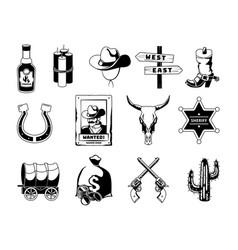 monochrome black theme of wild west vector image