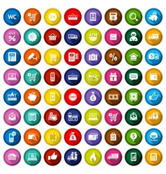 Shopping flat colored icons set vector image vector image
