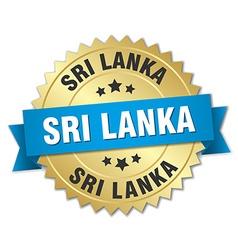 Sri Lanka round golden badge with blue ribbon vector image