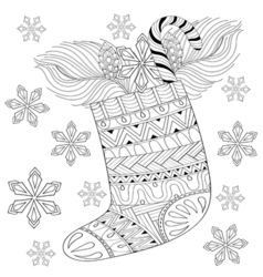 Winter knitted Christmas Sock with gift from Santa vector image vector image