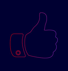 hand sign line icon with vector image