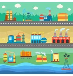 Industrial buildings factories horizontal banners vector image vector image
