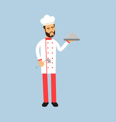 male chef cook character in uniform holding vector image