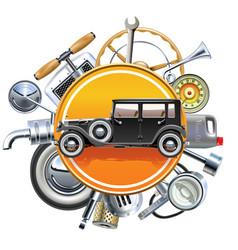 Retro car parts with old automobile vector