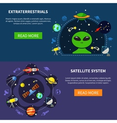 Satellite System Banners Set vector image vector image