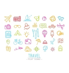 Travel flat color icons vector image